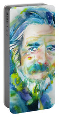 Portable Battery Charger featuring the painting Alan Watts - Watercolor Portrait.4 by Fabrizio Cassetta