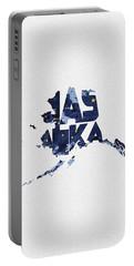 Alaska Typographic Map Flag Portable Battery Charger