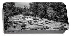 Alaskan Stream In Black And White Portable Battery Charger
