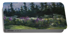 Portable Battery Charger featuring the painting Alaskan Woods by Yulia Kazansky