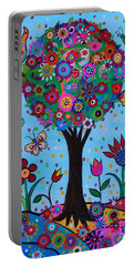 Portable Battery Charger featuring the painting Albero Della Vita by Pristine Cartera Turkus