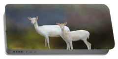 Albino Deer Portable Battery Charger by Marion Johnson