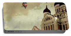 Portable Battery Charger featuring the digital art Alexander Nevsky Cathedral In Tallin, Estonia, My Memory. by Jeff Burgess