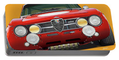Alfa Romeo Gtam On Yellow Portable Battery Charger by Alain Jamar