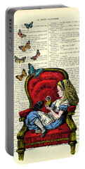 Alice In Wonderland Playing With Cute Cat And Butterflies Portable Battery Charger