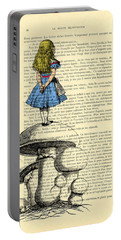 Alice In Wonderland Standing On Giant Mushroom Portable Battery Charger