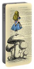 Alice In Wonderland Standing On Giant Mushroom Portable Battery Charger