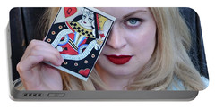 Alice Wins The Queen Of Hearts Portable Battery Charger