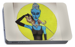 Portable Battery Charger featuring the painting Alien At Tiffany's by Similar Alien