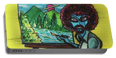 alien Bob Ross Portable Battery Charger by Similar Alien