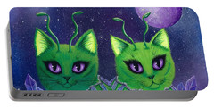 Portable Battery Charger featuring the painting Alien Cats by Carrie Hawks