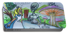 Alien In Wonderland Portable Battery Charger