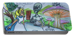 Portable Battery Charger featuring the painting Alien In Wonderland by Similar Alien