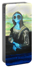 alien Mona Lisa Portable Battery Charger by Similar Alien
