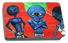 Portable Battery Charger featuring the painting Alien Posse by Similar Alien
