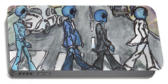 Portable Battery Charger featuring the painting Alien Road by Similar Alien