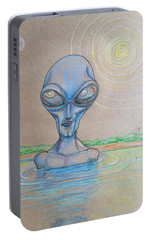 Portable Battery Charger featuring the drawing Alien Submerged by Similar Alien
