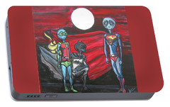 Portable Battery Charger featuring the painting Alien Superheros by Similar Alien