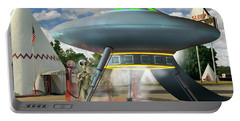 Alien Vacation - Gasoline Stop Portable Battery Charger by Mike McGlothlen