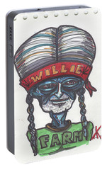 Portable Battery Charger featuring the drawing alien Willie Nelson by Similar Alien