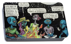 Portable Battery Charger featuring the painting Aliens By The Campfire by Similar Alien