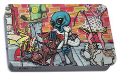 Portable Battery Charger featuring the painting Aliens Love Dogs by Similar Alien