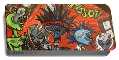 Portable Battery Charger featuring the painting Aliens With Nefarious Intent by Similar Alien