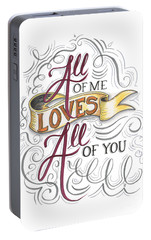 Portable Battery Charger featuring the drawing All Of Me Loves All Of You by Cindy Garber Iverson