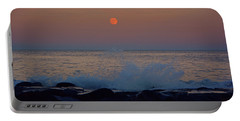 Portable Battery Charger featuring the photograph Allenhurst Beach Full Moon Rise by Raymond Salani III