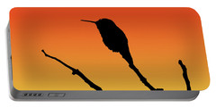 Allen's Hummingbird Silhouette At Sunset Portable Battery Charger