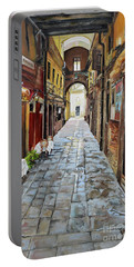 Portable Battery Charger featuring the painting Venezia - Alley On Parangon In Venice by Jan Dappen