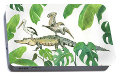 Alligator And Pelicans Portable Battery Charger by Juan Bosco
