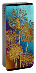 Portable Battery Charger featuring the mixed media Alluring Allium Abstract 2 by Will Borden