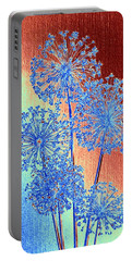 Portable Battery Charger featuring the mixed media Alluring Allium Abstract by Will Borden