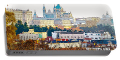 Almudena Cathedral And The Royal Palace Of Madrid Spain Portable Battery Charger