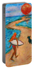 Portable Battery Charger featuring the painting Aloha Surfer by Xueling Zou