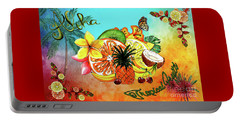 Portable Battery Charger featuring the digital art Aloha Tropical Fruits By Kaye Menner by Kaye Menner