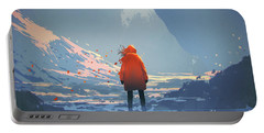Portable Battery Charger featuring the painting Alone In Winter by Tithi Luadthong