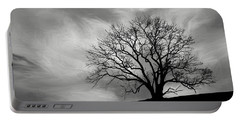 Alone On A Hill In Black And White Portable Battery Charger