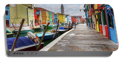 Along The Canal In Burano Island Portable Battery Charger