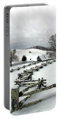 Along The Locust Rails In Winter Portable Battery Charger