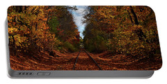 Along The Rails Portable Battery Charger by Tricia Marchlik