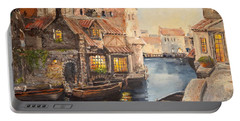 Portable Battery Charger featuring the painting Alsace At Dusk by Alan Lakin