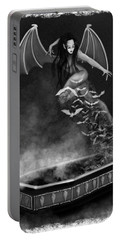 Always Awake - Black And White Fantasy Art Portable Battery Charger