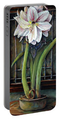 Amaryllis In The Window Portable Battery Charger by Bernadette Krupa