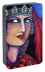 Portable Battery Charger featuring the painting Amazigh Beauty 1 by Rae Chichilnitsky