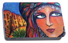 Portable Battery Charger featuring the painting Amazigh Beauty 2 by Rae Chichilnitsky