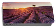 Amazing Lavender Field At Sunset Portable Battery Charger