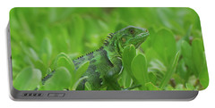Amazingly Green Iguana In Green Shrubs Portable Battery Charger by DejaVu Designs