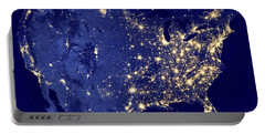 America By Night Portable Battery Charger by Delphimages Photo Creations